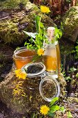 Various dandelion products; jelly, liqueur, pickled buds and freshly picked dandelions on stone outdoors
