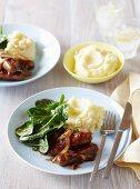 Glazed sausages with mashed potato