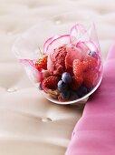 Rose petal sorbet with fresh berries