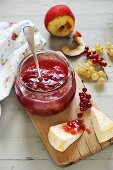 Peach and redcurrant jam