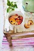 Madeleines with wild strawberries