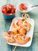 Melon and langoustine skewers with a strawberry & basil salsa