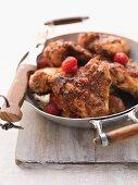 Chicken wings with raspberries