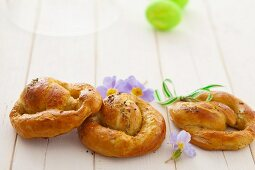 Three yeast pretzels