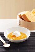 Cream of pumpkin soup with sour cream