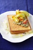 Waffle with courgette flowers and anchovy paste