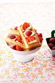 Waffles with fresh raspberries and strawberries