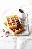 Gaufre lyonnaise (waffle with chocolate sauce, France)