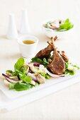 Lamb chops with a mushroom salad