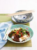 Sweet soy lamb and flat rice noodles