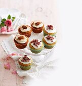 Carrot, ginger and peacan cupcakes, pistashio and rosewater cupcakes
