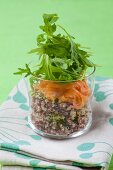 Quinoa salad with smoked salmon and rocket