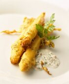 Battered asparagus with dip