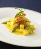 Langoustine with green asparagus and diced potatoes