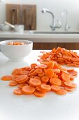 Carrots, cut into slices, in the kitchen