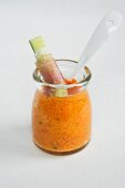 Carrot purée for dipping, with cucumber and Parma ham
