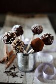Chocolate cake pops in a silver tin