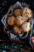 Muffins with cheese and herbs
