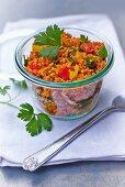 Bulgur salad in a storage jar