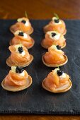 Blinis with smoked salmon and caviar