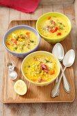 Corn Chowder (sweetcorn soup, USA), with potatoes, pancetta and dill