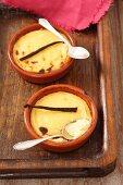 Sweetcorn custard with a vanilla pod