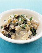 Rigatoni with olives, herbs and a cream sauce