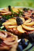 Mixed Berry Tart with Sliced Peaches
