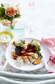 Oven-roasted chicken with vegetables and croutons