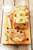 Apple cake with dried cranberries and cinnamon