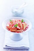 Apple salad with pomegranate seeds