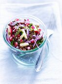 Lentil salad with apple and pomegranate seeds