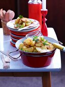 Potato salad with chilli and honey for an after-work party