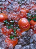 Tomatoes in iced water