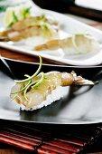 Nigiri sushi with king prawns