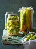 Salad cucumbers in a dill & sherry pickling liquor and pickling cucumbers in a ginger liquor
