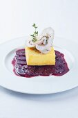 Rolled chicken breast, baked polenta and beetroot