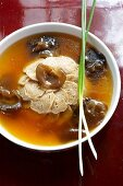 Vegetarian chicken soup with mushrooms
