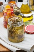 Home made artichoke in olive oil, Italy, Europe