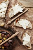 Kalamata olives and olive & tomato bread with parmesan