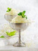 Elderflower sorbet with mint and lemon balm