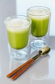 Glasses of matcha latte tea
