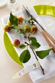 Table decoration: a sprig of ornamental apples on a plate with a label saying 'Enjoy'