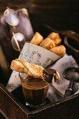 Warm, golden brown, baked dessert with chocolate.