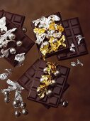 Chocolate bars with gold leaf and silver decorations