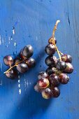 Red grapes on a blue wooden tabletop
