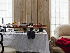 Dining room with selection of antipasto on table