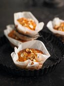 Lentil muffins with cashew nuts and candied ginger