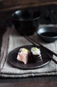 Nigiri sushi and maki sushi with bream