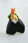 Onigiri (spiced rice balls, Japan) with a prawn and nori